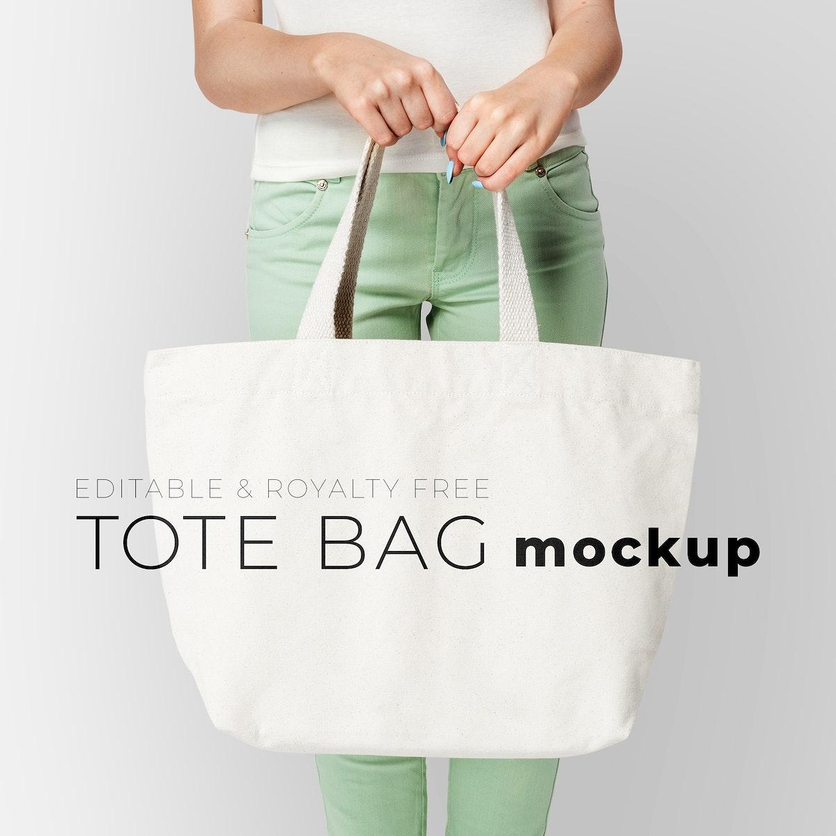 Editable tote bag mockup psd template youth apparel ad