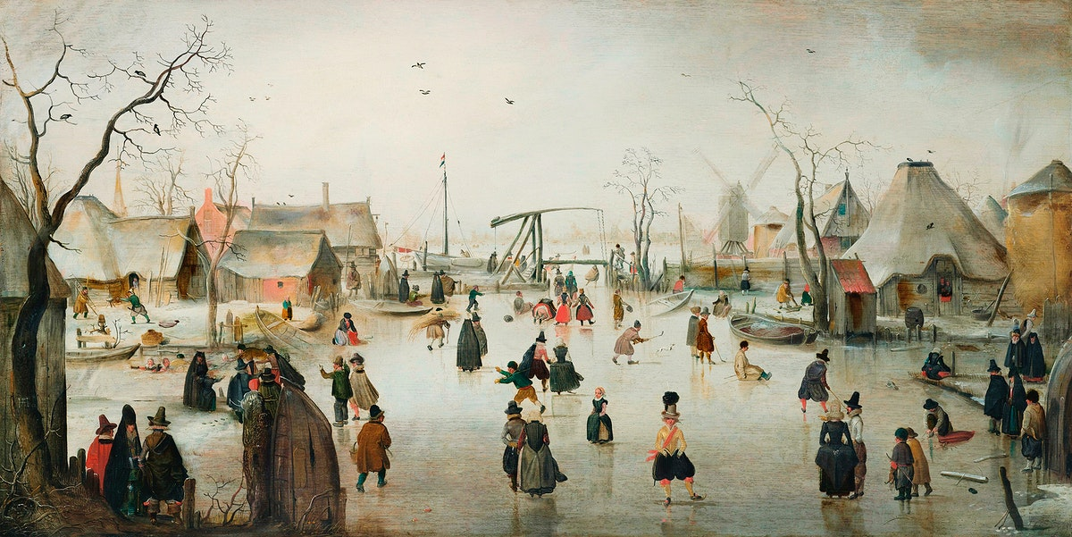 Ice-skating in a Village (1610) by Hendrick Avercamp. Original from The Rijksmuseum. Digitally enhanced by rawpixel.