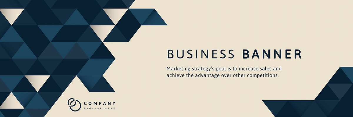 Blue geometric pattern on beige business banner template vector