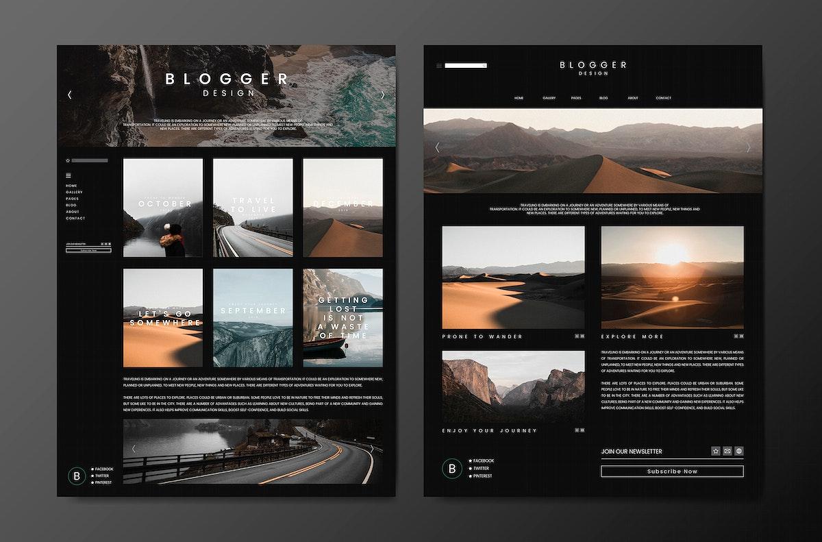 Travel blog feed template design vector