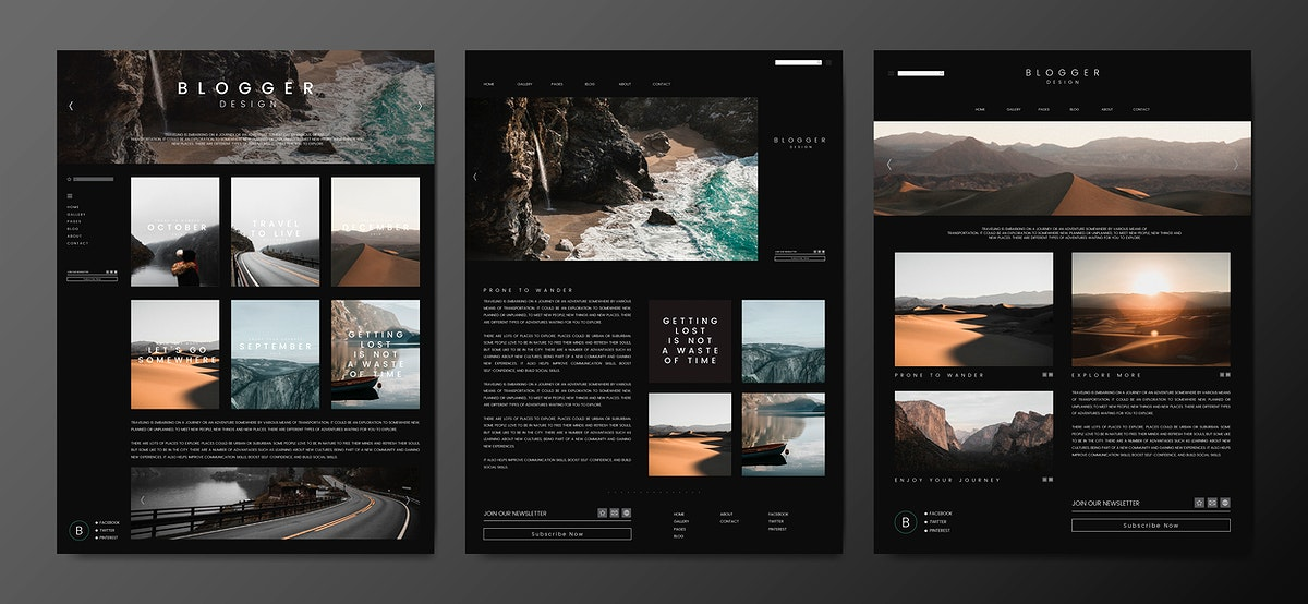 Travel blog first page template design vector