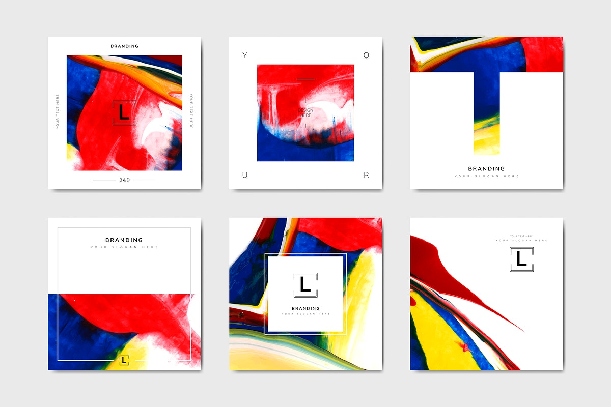 Rectangular colorful art banner template vector set