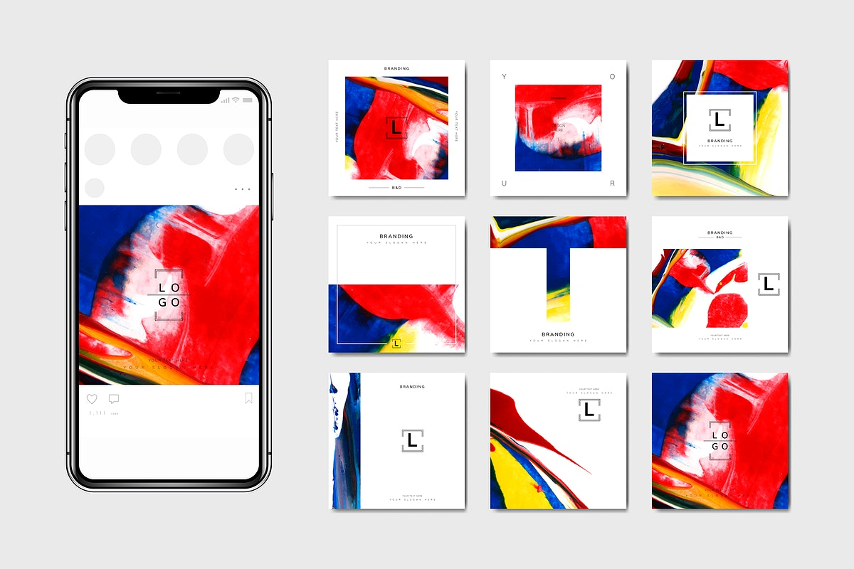 Colorful abstract art banner for phones template vector set