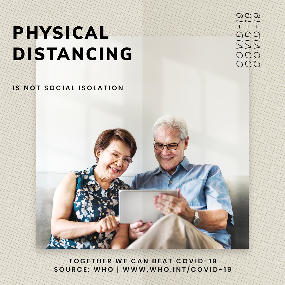Physical distancing during coronavirus outbreak social template source WHO vector