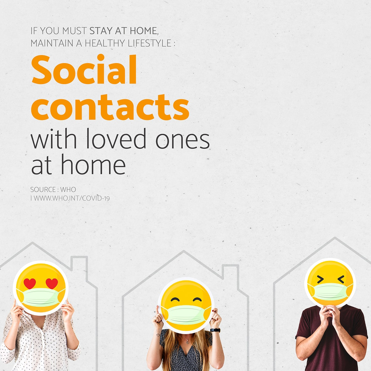 Social contacts with loved ones at home during coronavirus outbreak social template source WHO vector