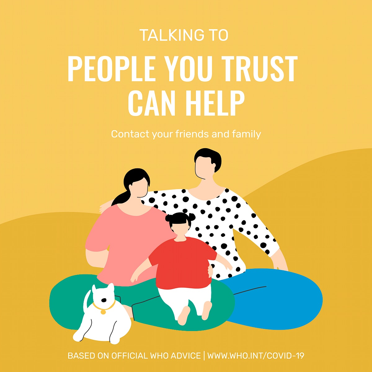 Talking to people you trust during coronavirus outbreak social template source WHO vector