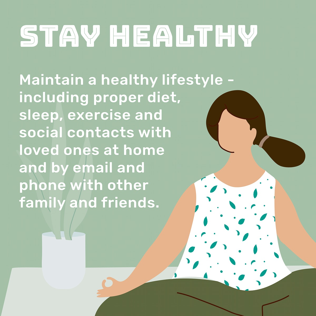 Maintain a healthy lifestyle at home during coronavirus pandemic social template source WHO vector