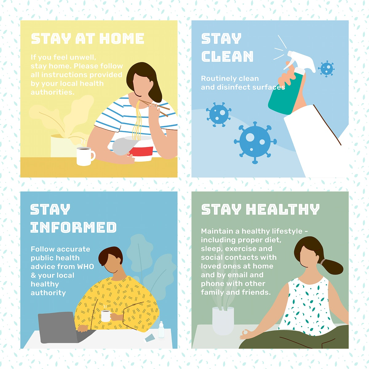 What to do at home during coronavirus outbreak social template vector