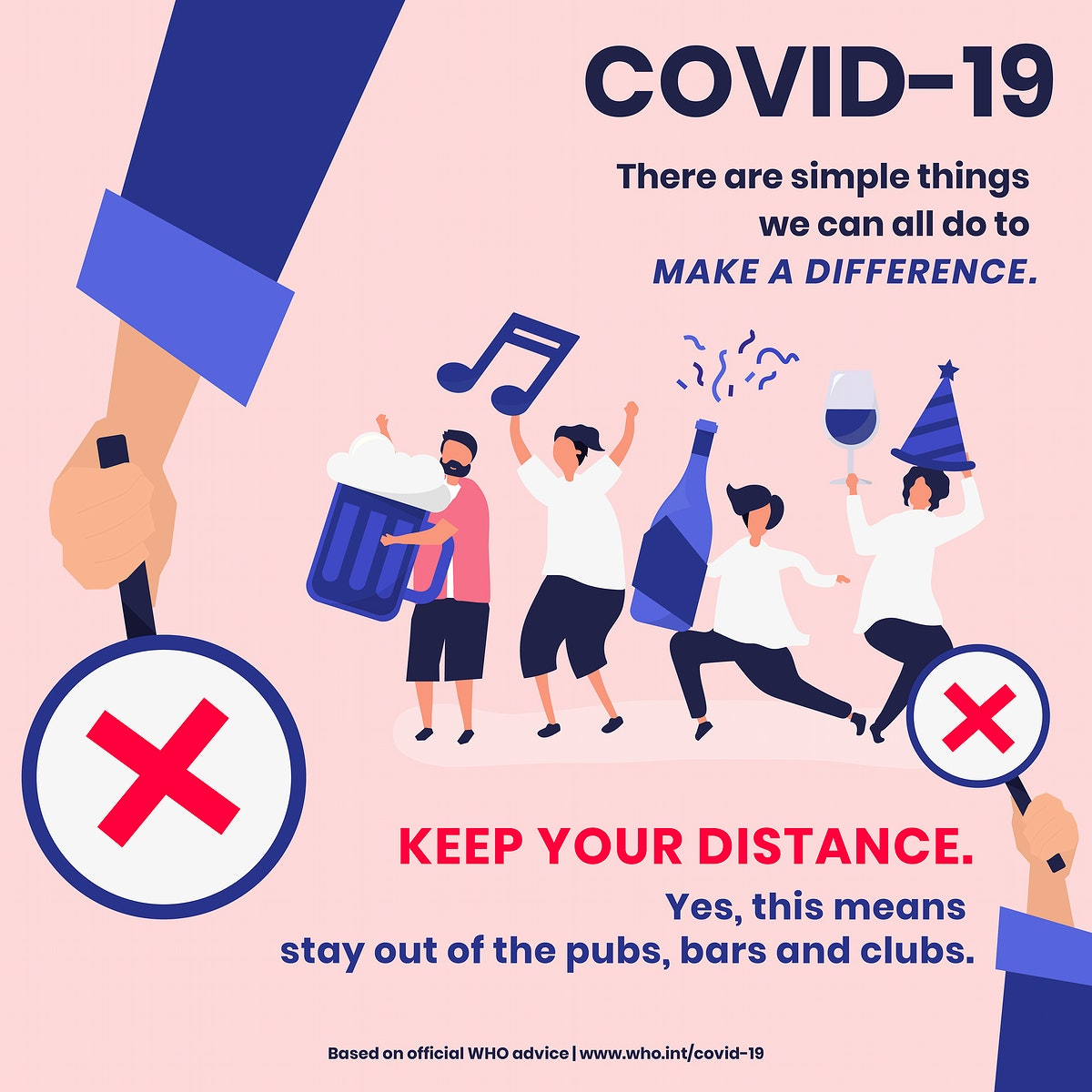 Keep your distance during coronavirus outbreak social template source WHO vector