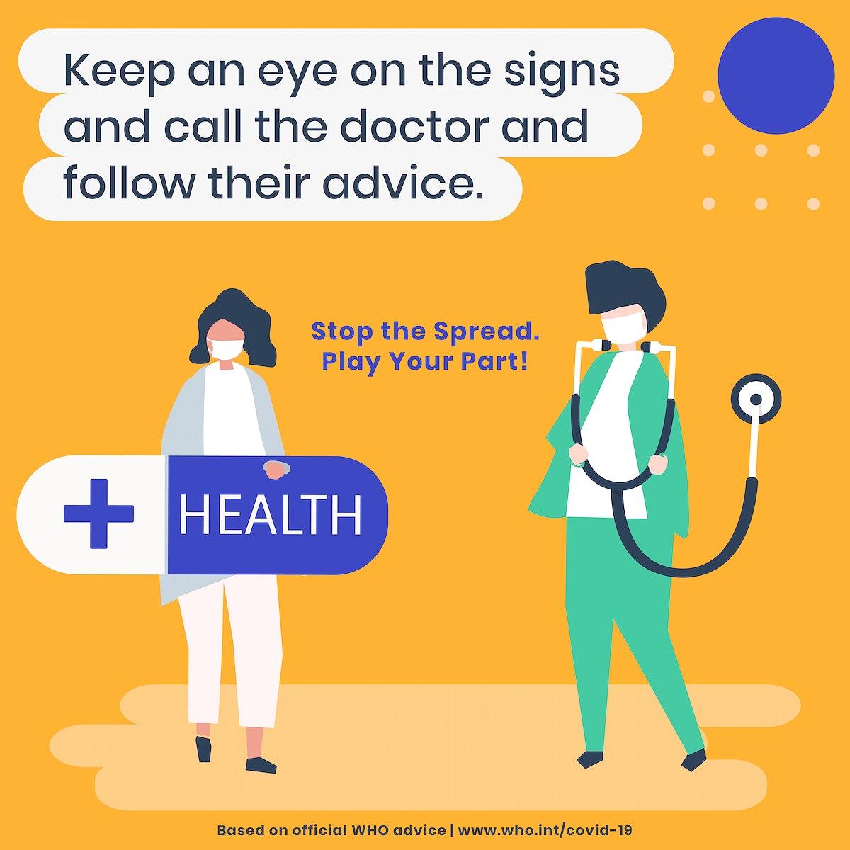 Keep an eye on coronavirus sign social template source WHO vector