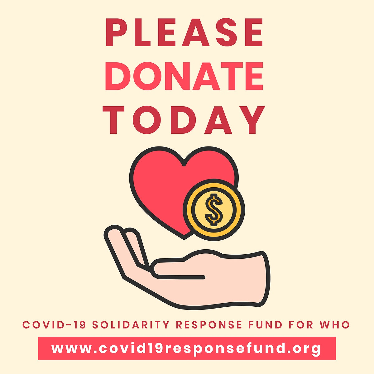 Please donate today due to COVID-19 social template source WHO vector