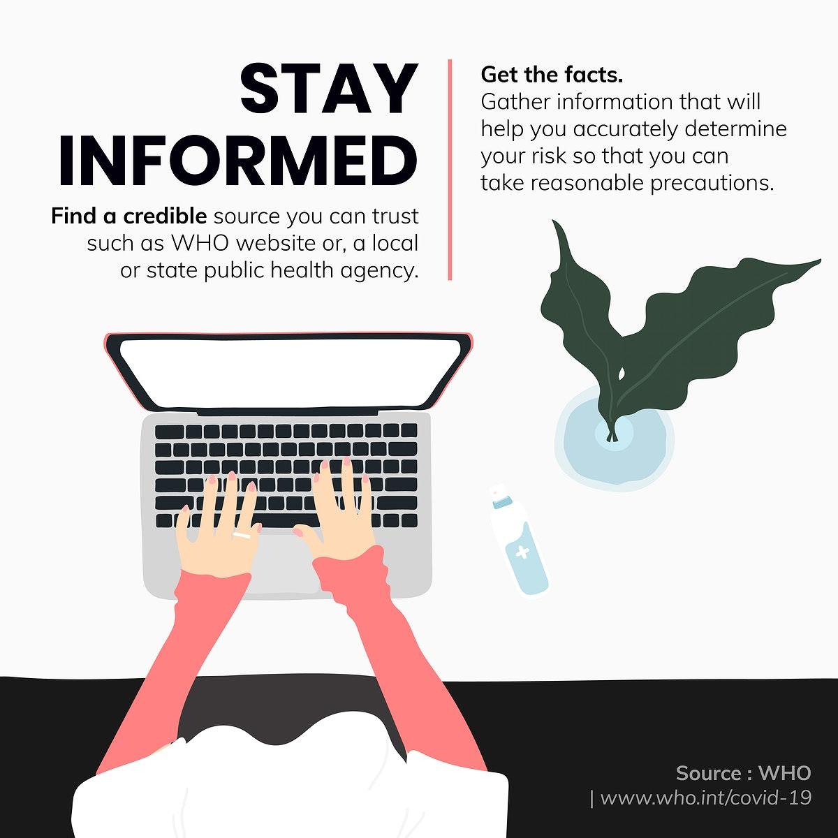 Stay informed and get the facts during coronavirus outbreak social template source WHO vector