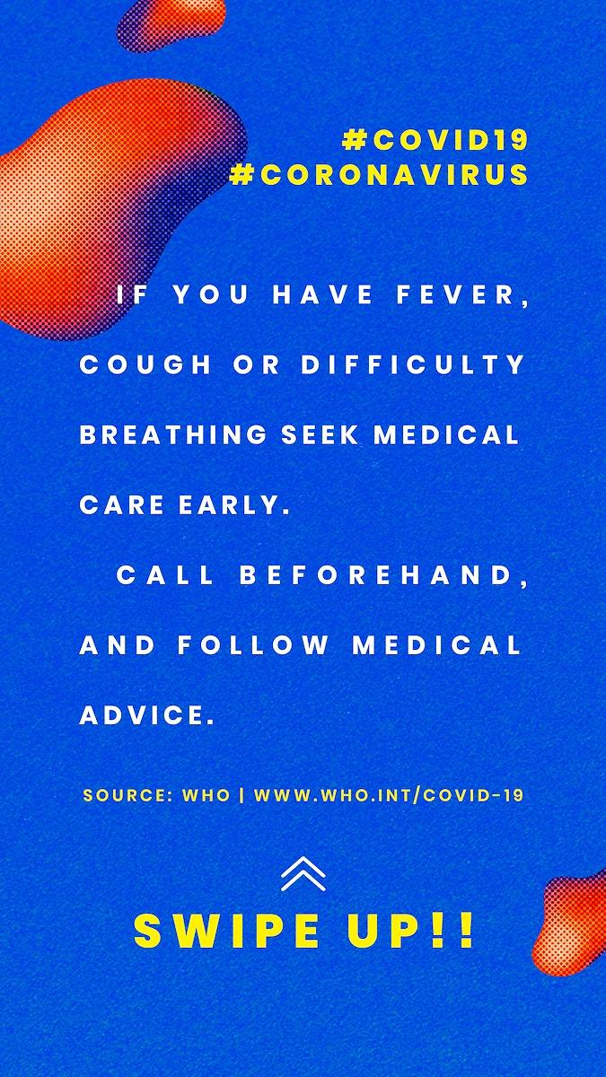 Coronavirus symptoms social template source WHO mockup