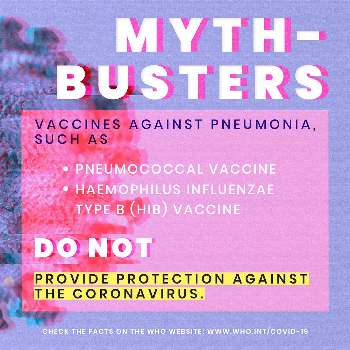 Vaccines against pneumonia myth-busters during coronavirus pandemic social template source WHO mockup