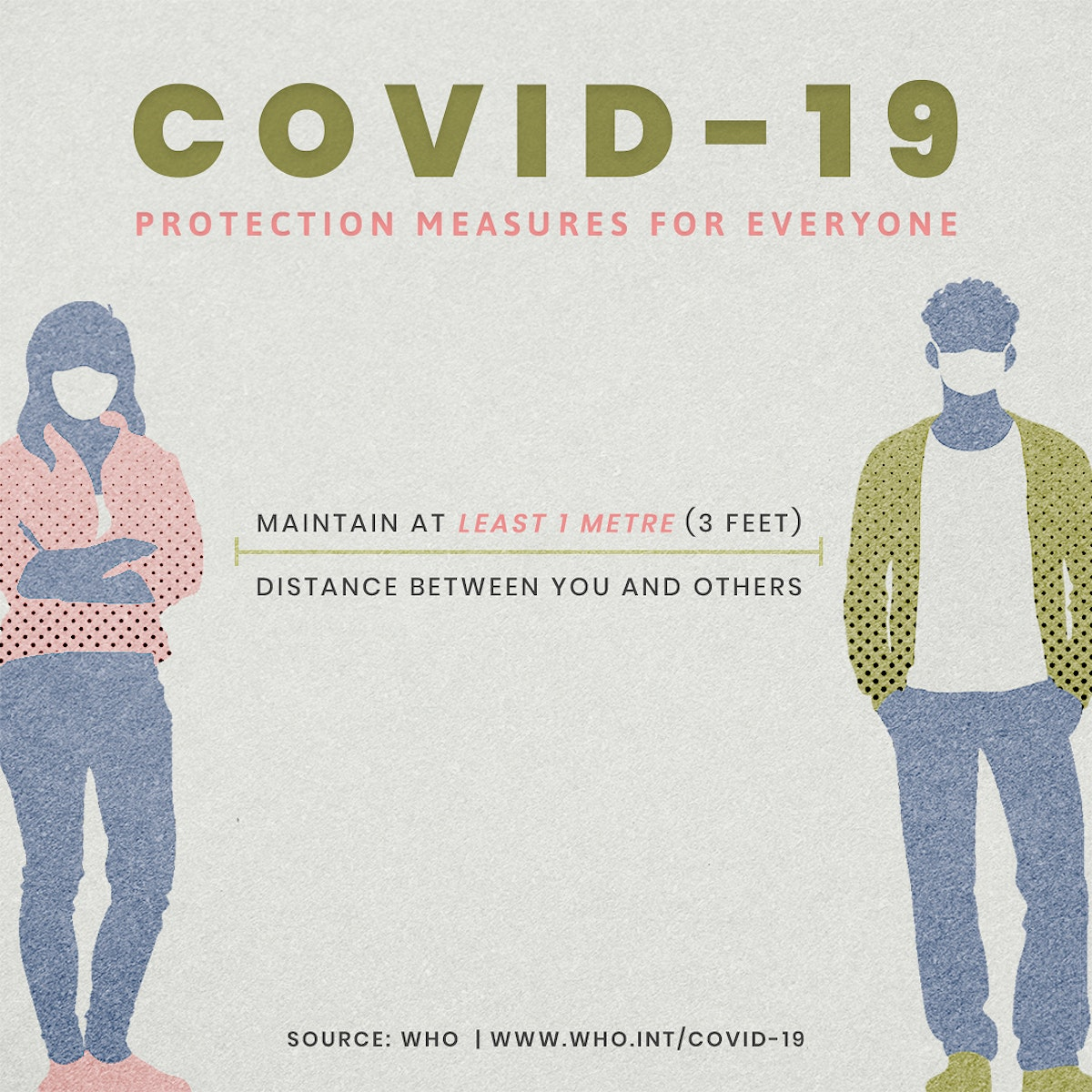 COVID-19 protection measures for everyone social template source WHO mockup