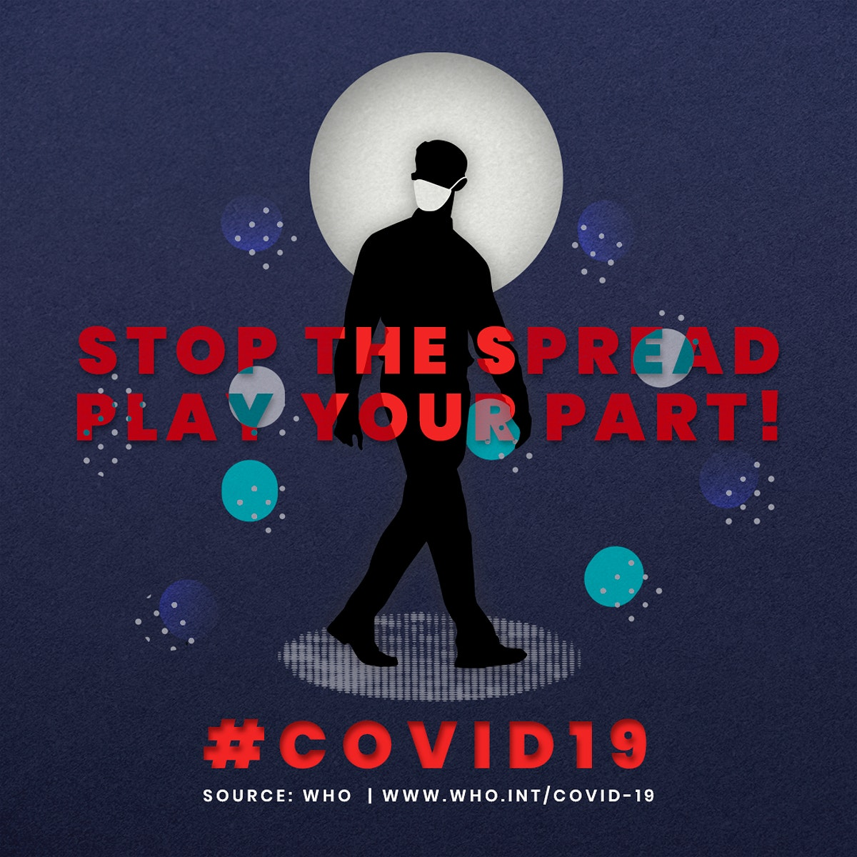 Stop the spread play your part during coronavirus pandemic social template source WHO mockup
