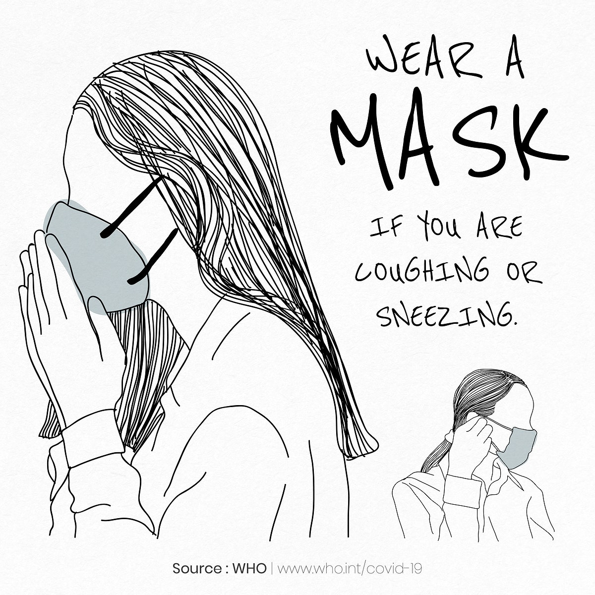 Wear a mask if you're coughing or sneezing to protect yourself from the coronavirus outbreak template source WHO vector