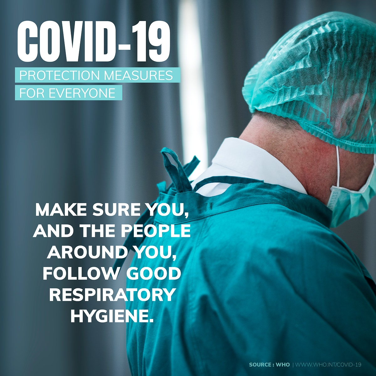Follow good respiratory hygiene during the coronavirus outbreak social template source WHO vector
