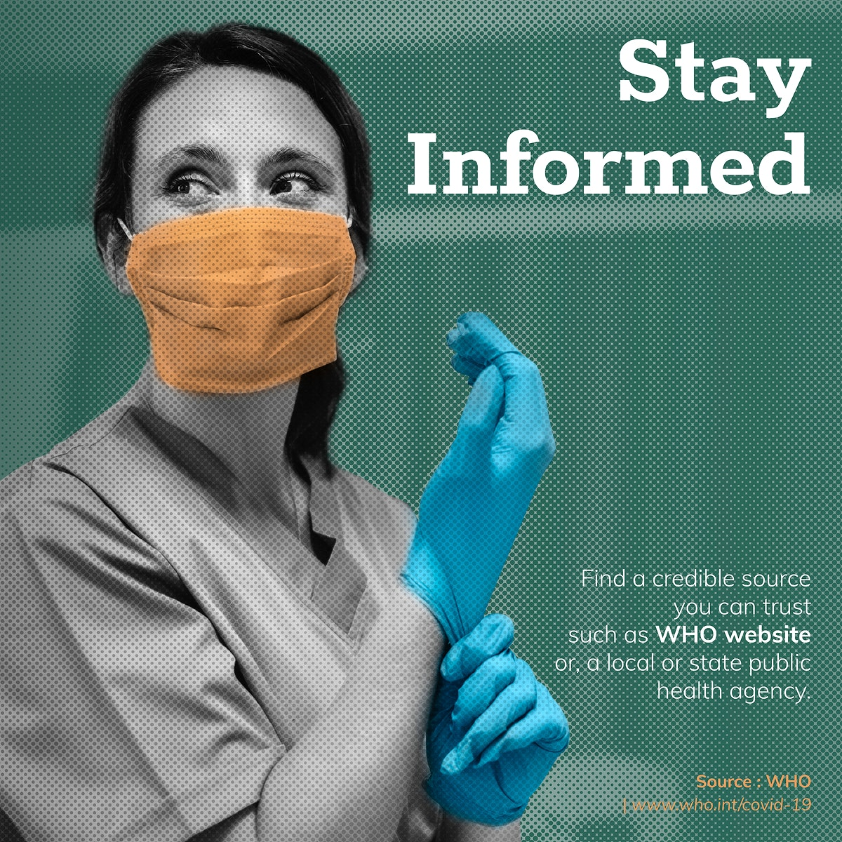Stay informed during the coronavirus pandemic social template source WHO vector