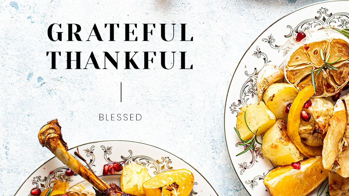 Thanksgiving dinner psd template blog banner with grateful and thankful text