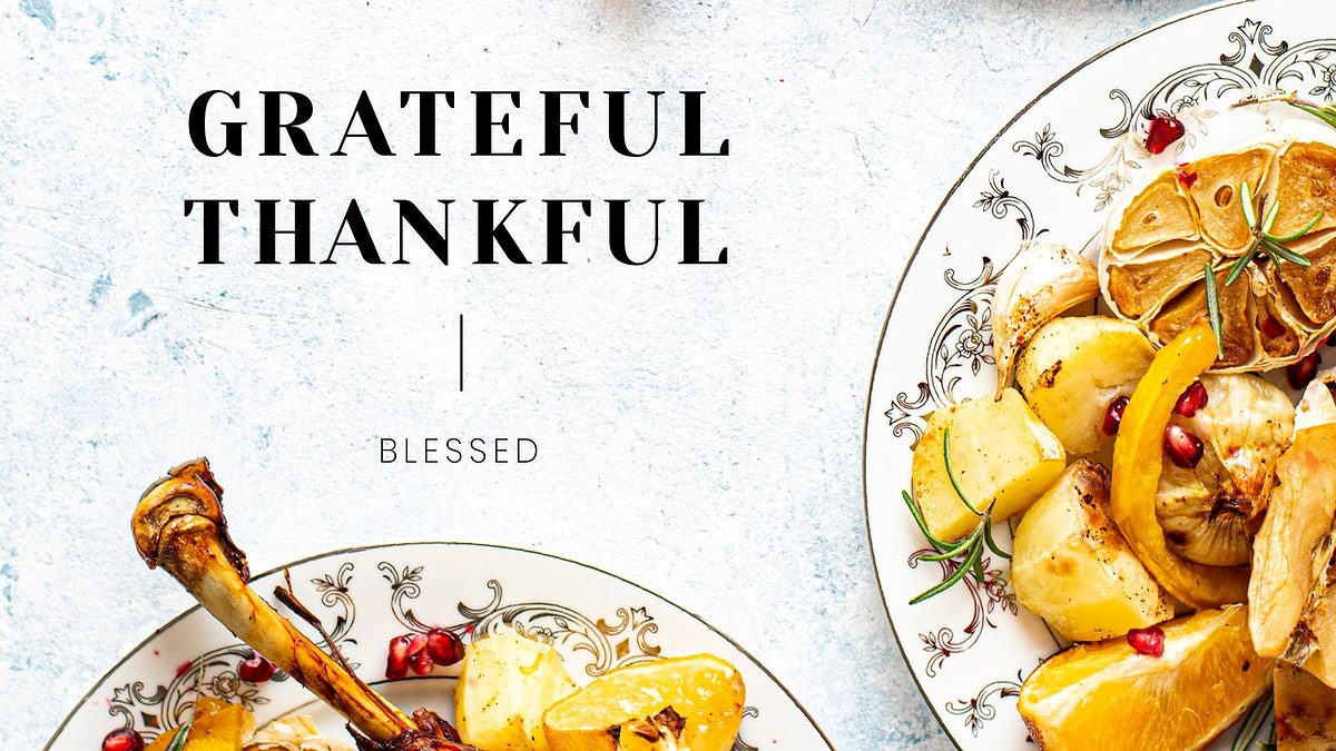 Thanksgiving dinner vector template blog banner with grateful and thankful text