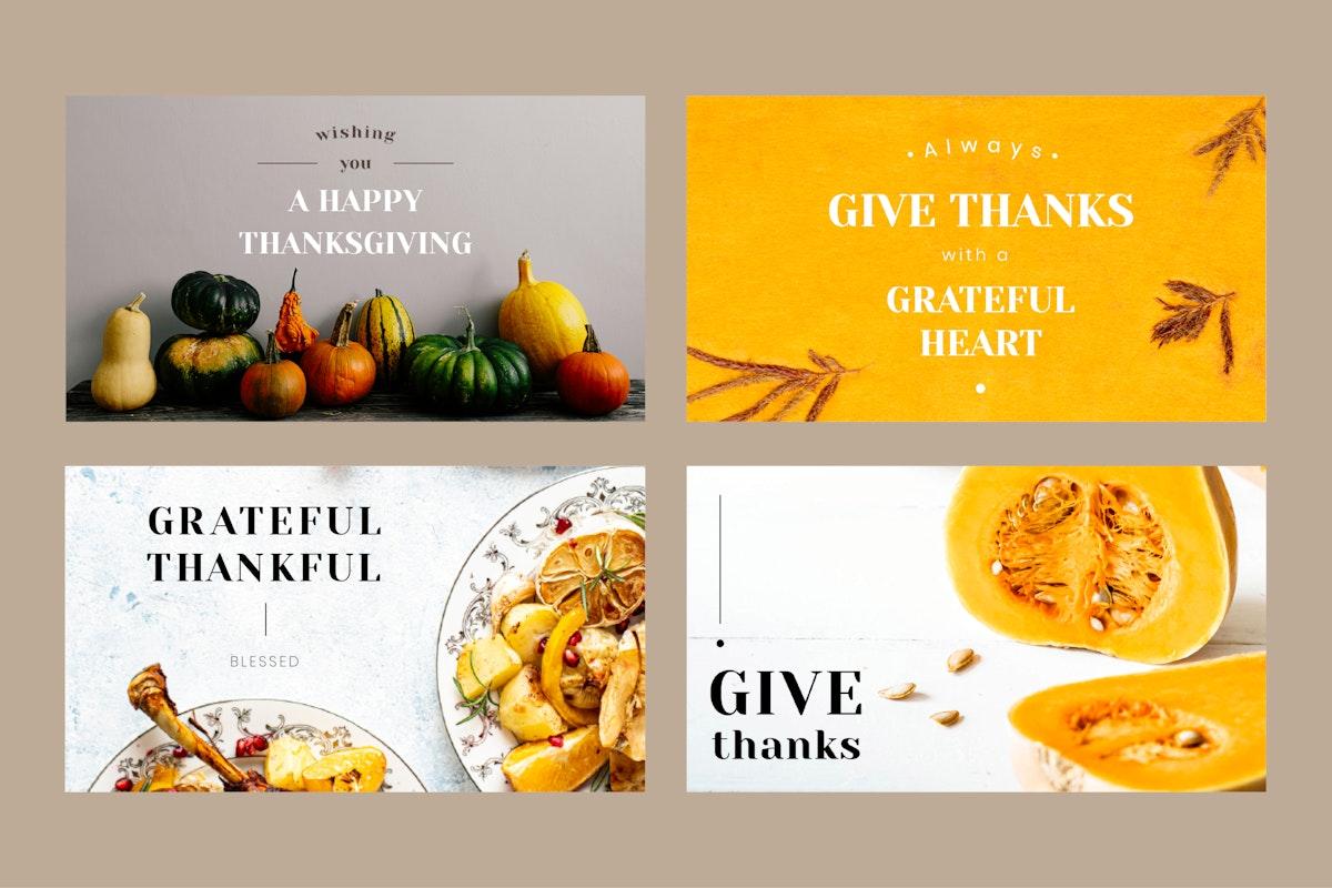 Thanksgiving vector editable banner template set
