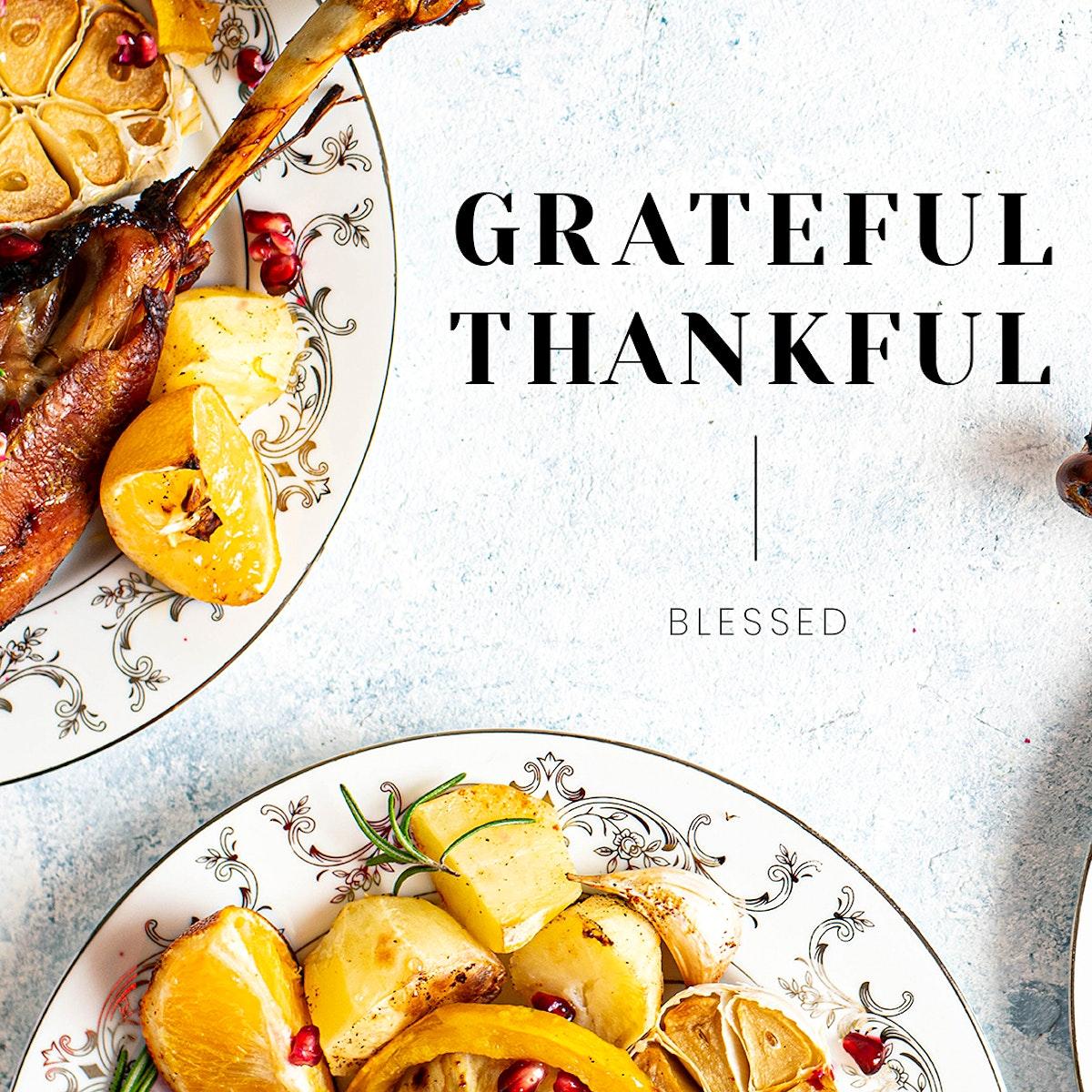 Thanksgiving dinner psd template for social media post