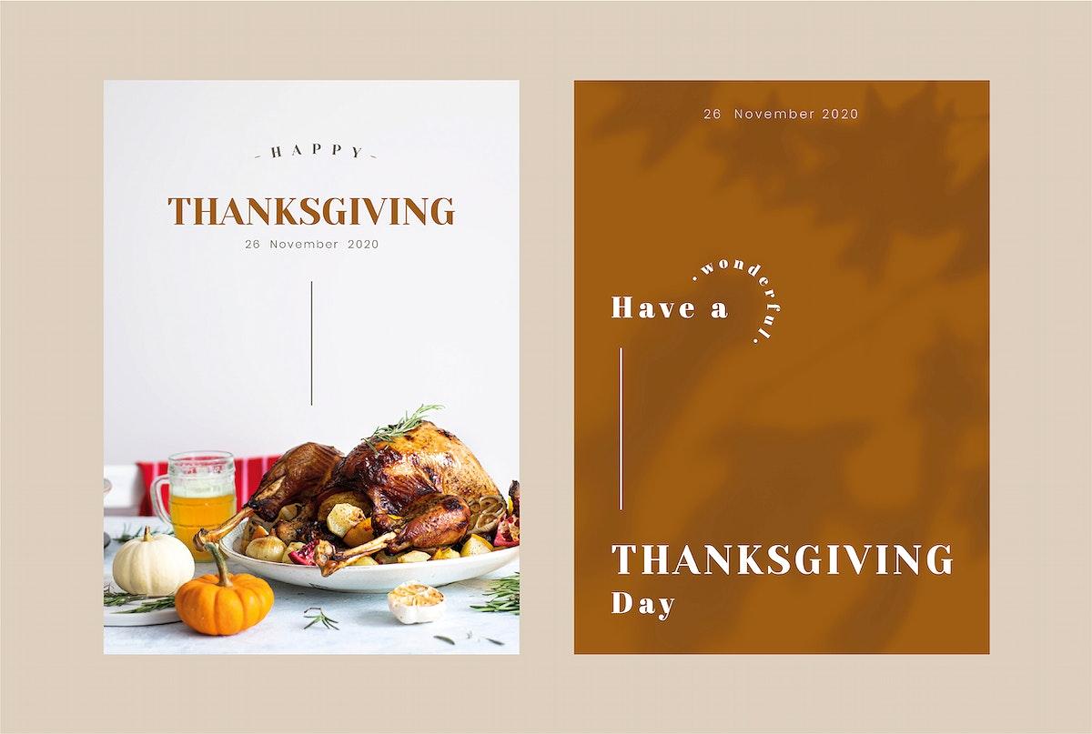 Thanksgiving greeting card editable template vector set