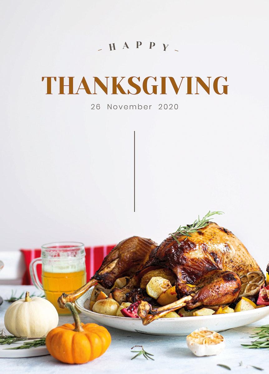Happy thanksgiving psd card template dinner invitation