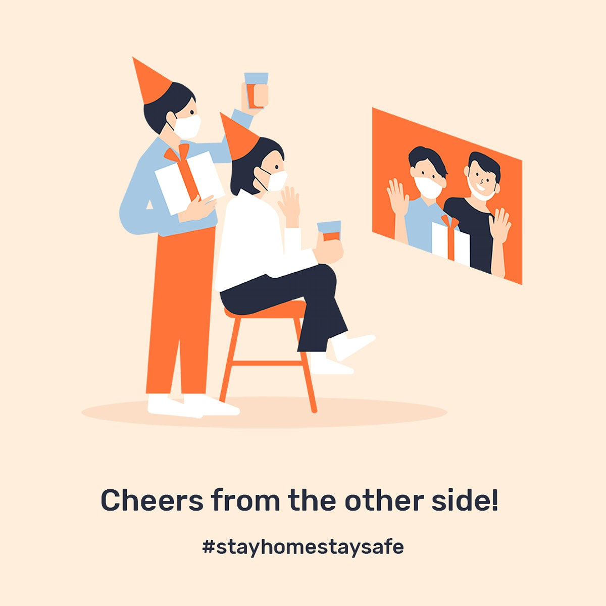 Cheer from the other side psd template in new normal celebration