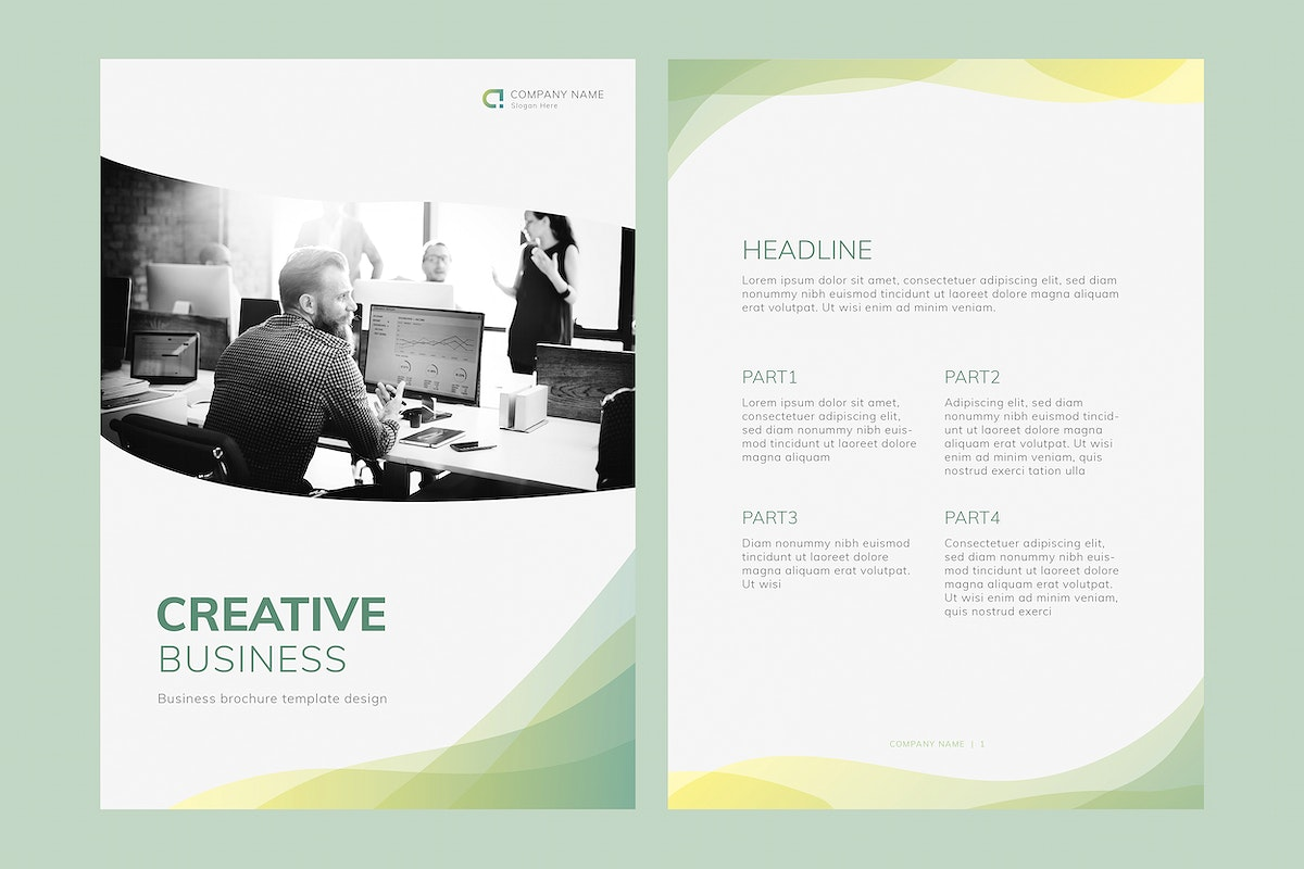 Green business annual report template vectors set
