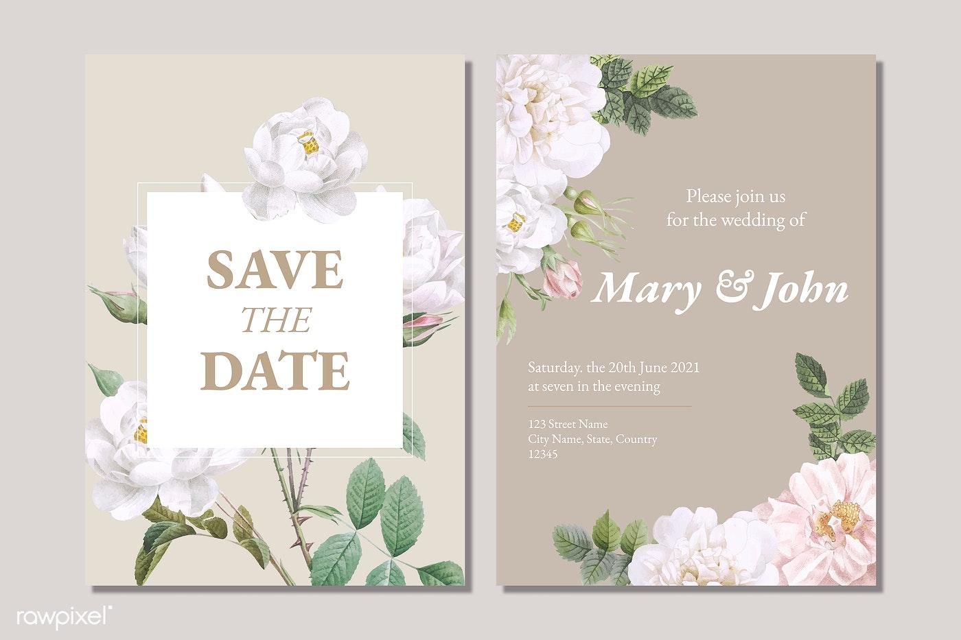 Romantic Wedding Invitation Cards Free Stock Vector 594838