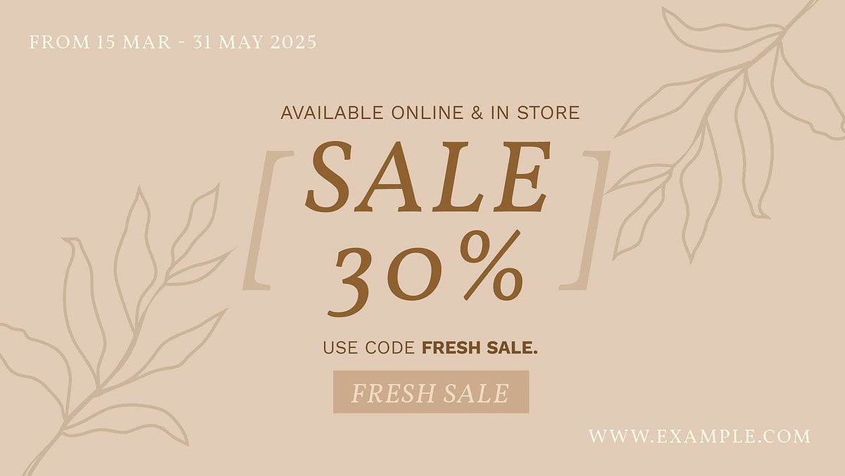 Sale template vector earth tone for blog banner