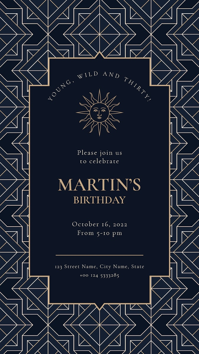 Birthday party invitation template psd with gold art deco style