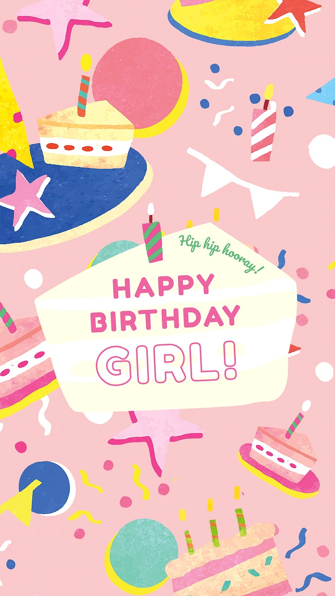 Kid's birthday greeting template psd for girl