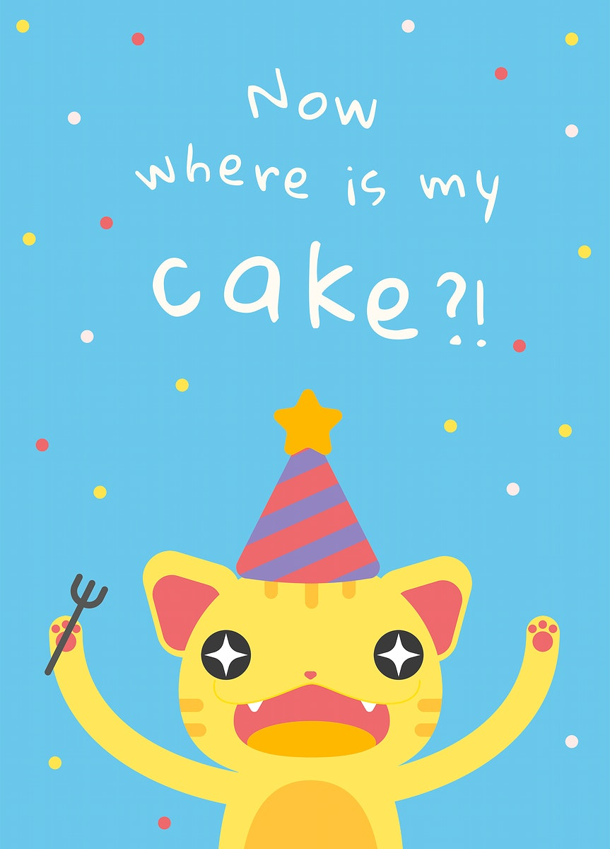 Kid's birthday greeting template psd with cute hungry cat cartoon