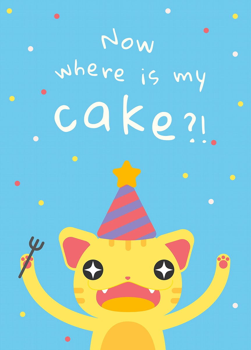 Kid's birthday greeting template vector with cute hungry cat cartoon