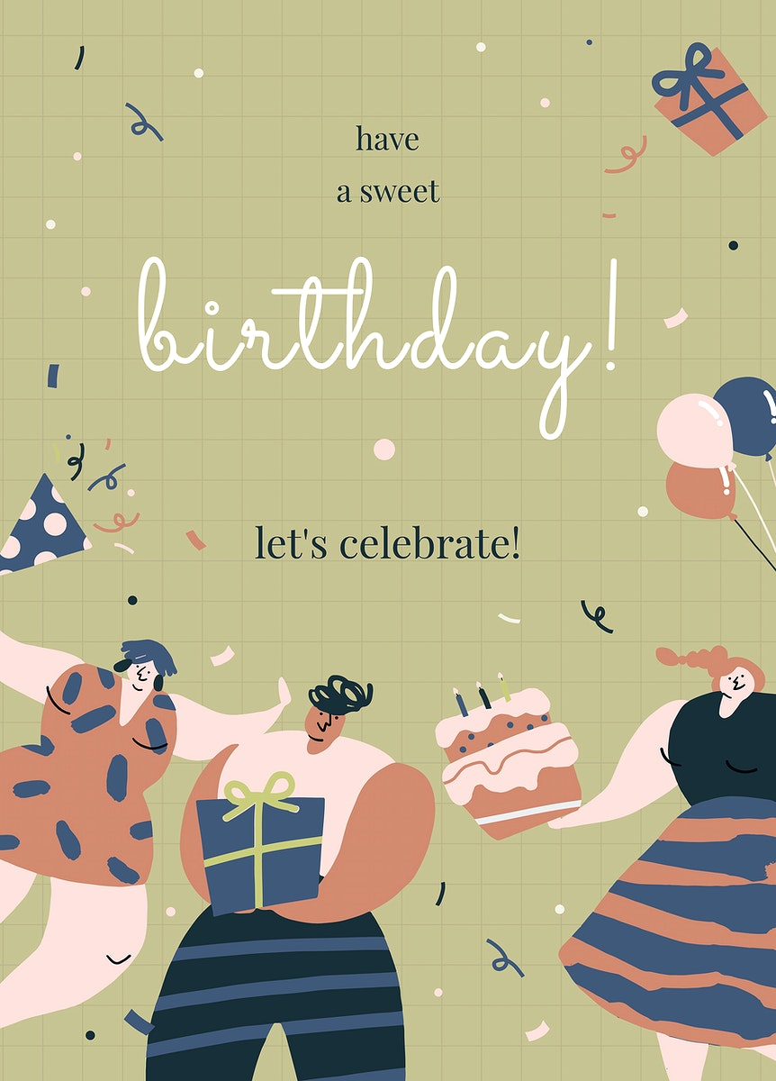 Birthday greeting template vector with celebrating characters