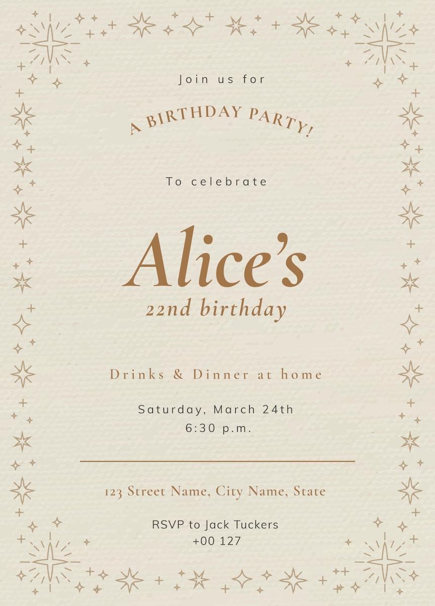 Online party invitation template vector birthday celebration