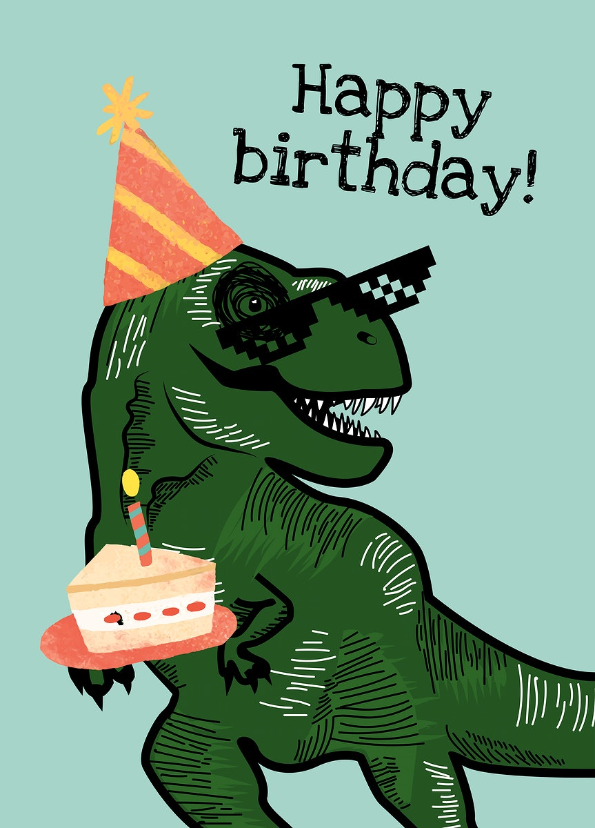 Kid's birthday greeting template psd with dinosaur holding a cake illustration