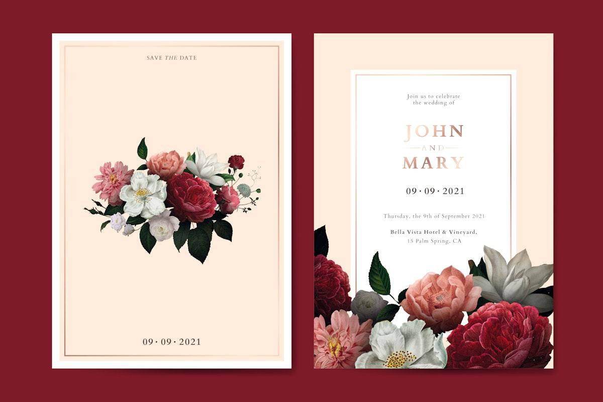 Flower wedding invitation card template vector