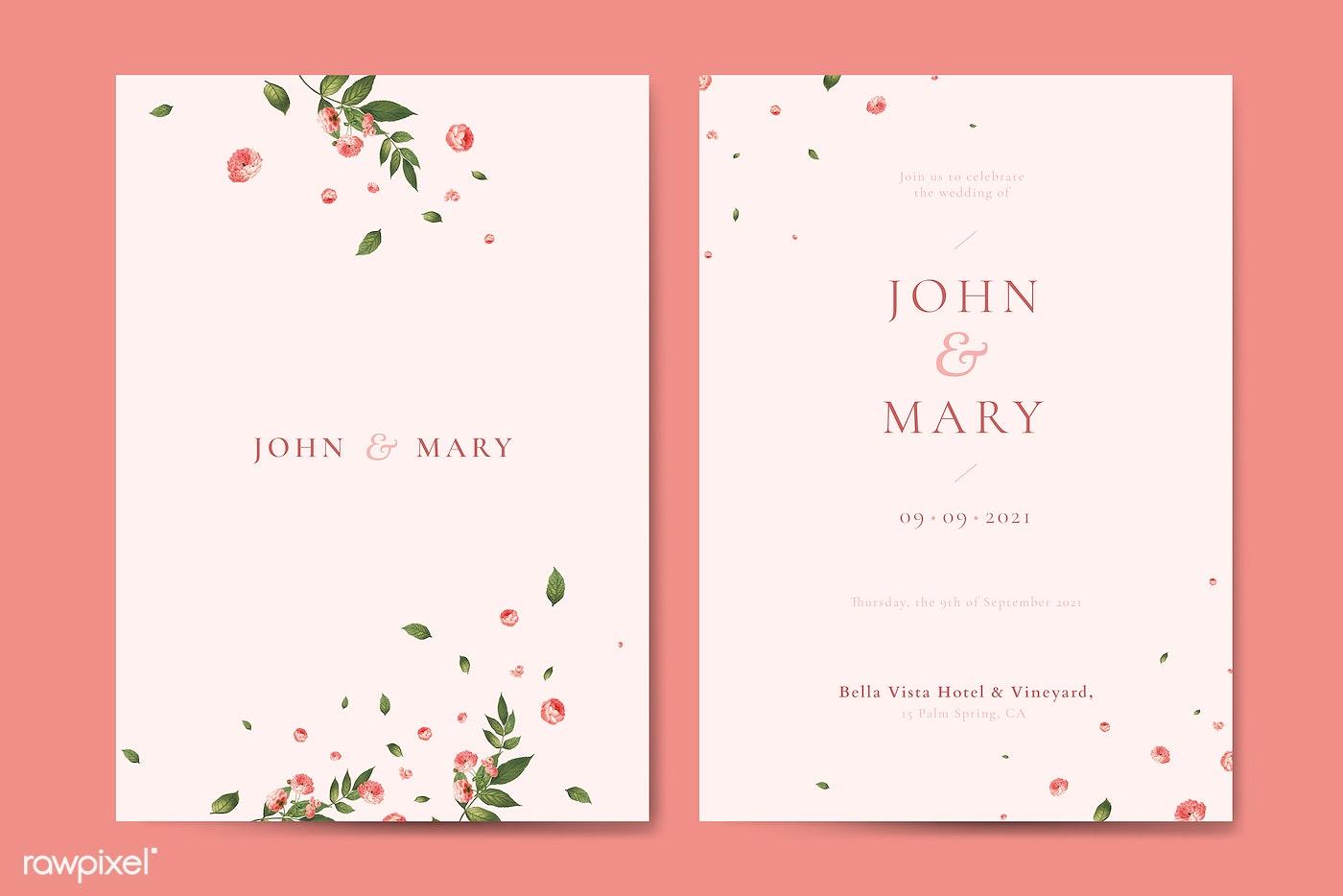 Download Premium Vector Of Flower Wedding Invitation Card Template Vector