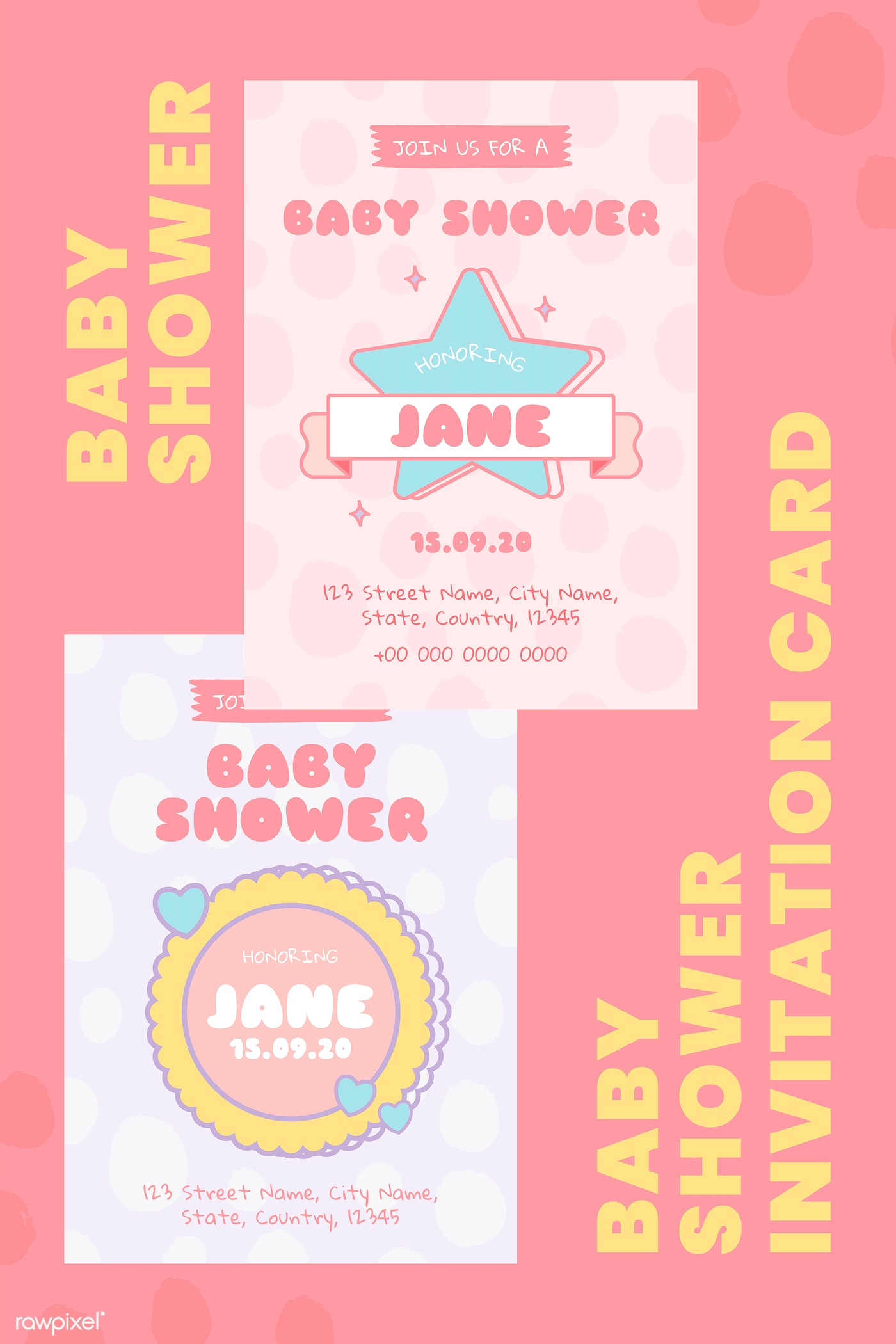 Download Premium Vector Of Cute Baby Shower Invitation Card Templates