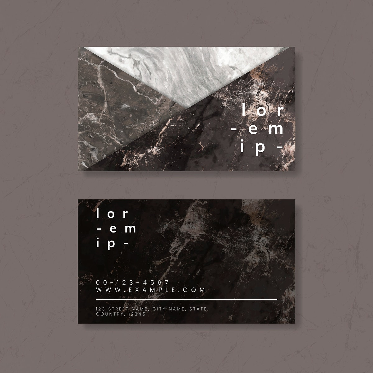 Marble texture business card vector