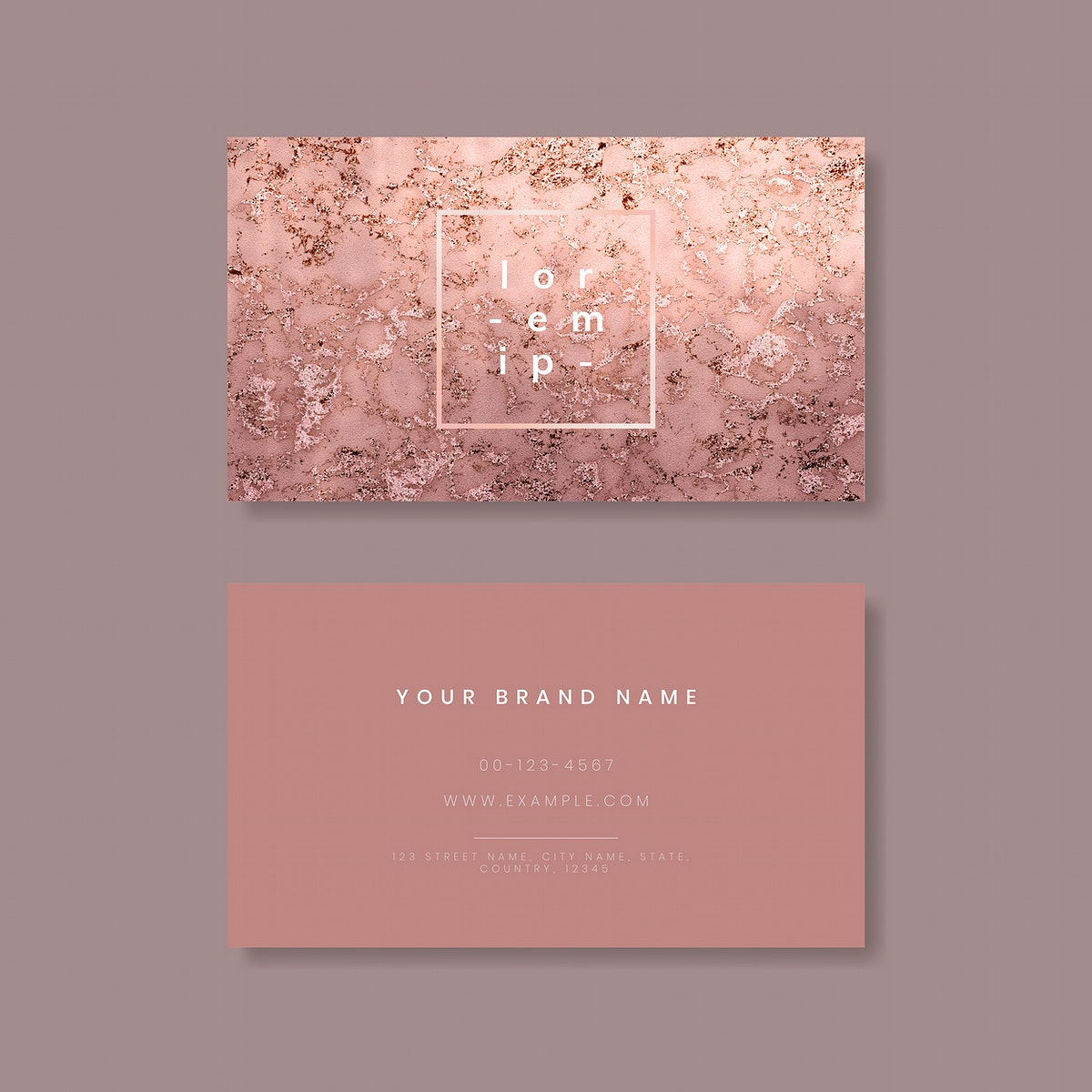 Pink shimmering marble textured business card vector