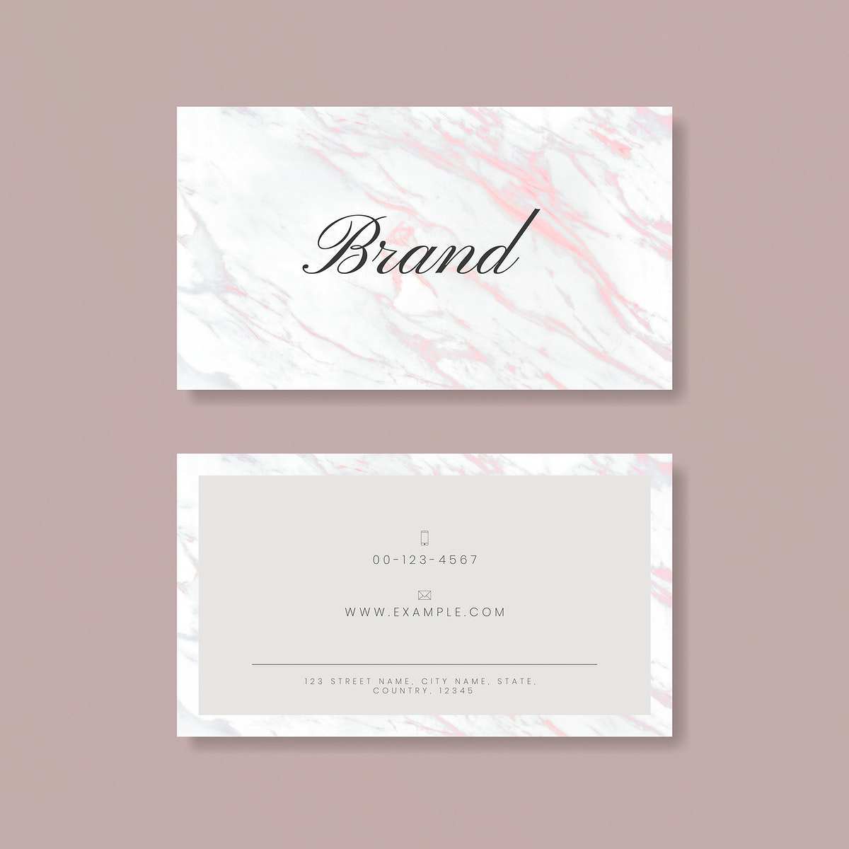 Pink marble business card vector