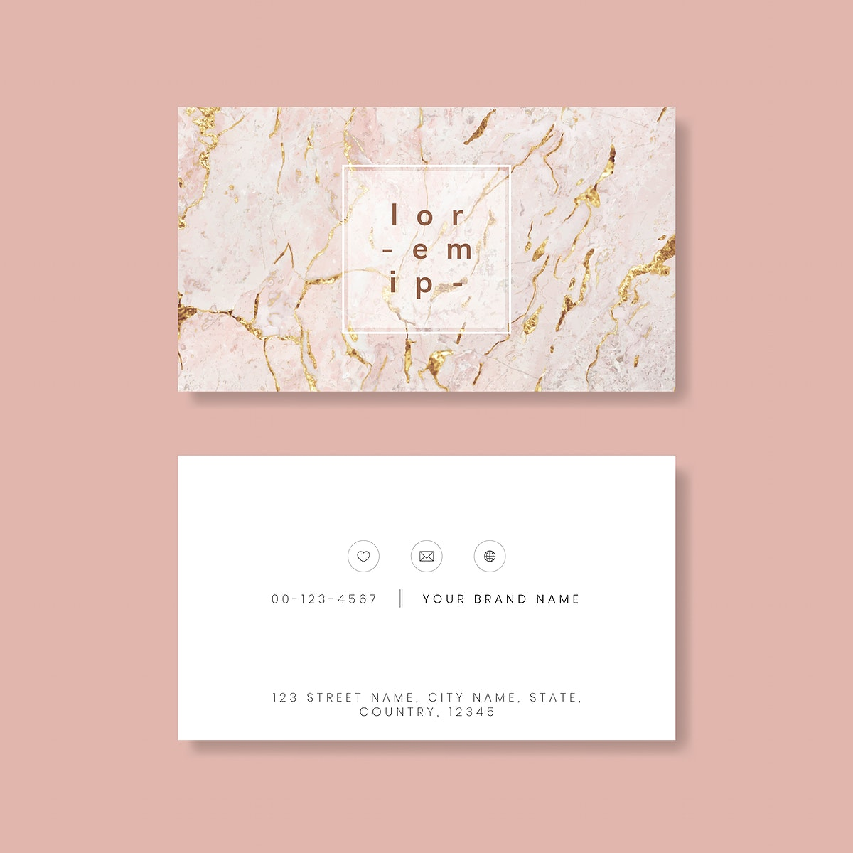 Marble textured business card vector