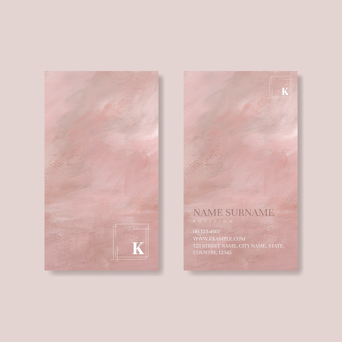 Pink business card design vector