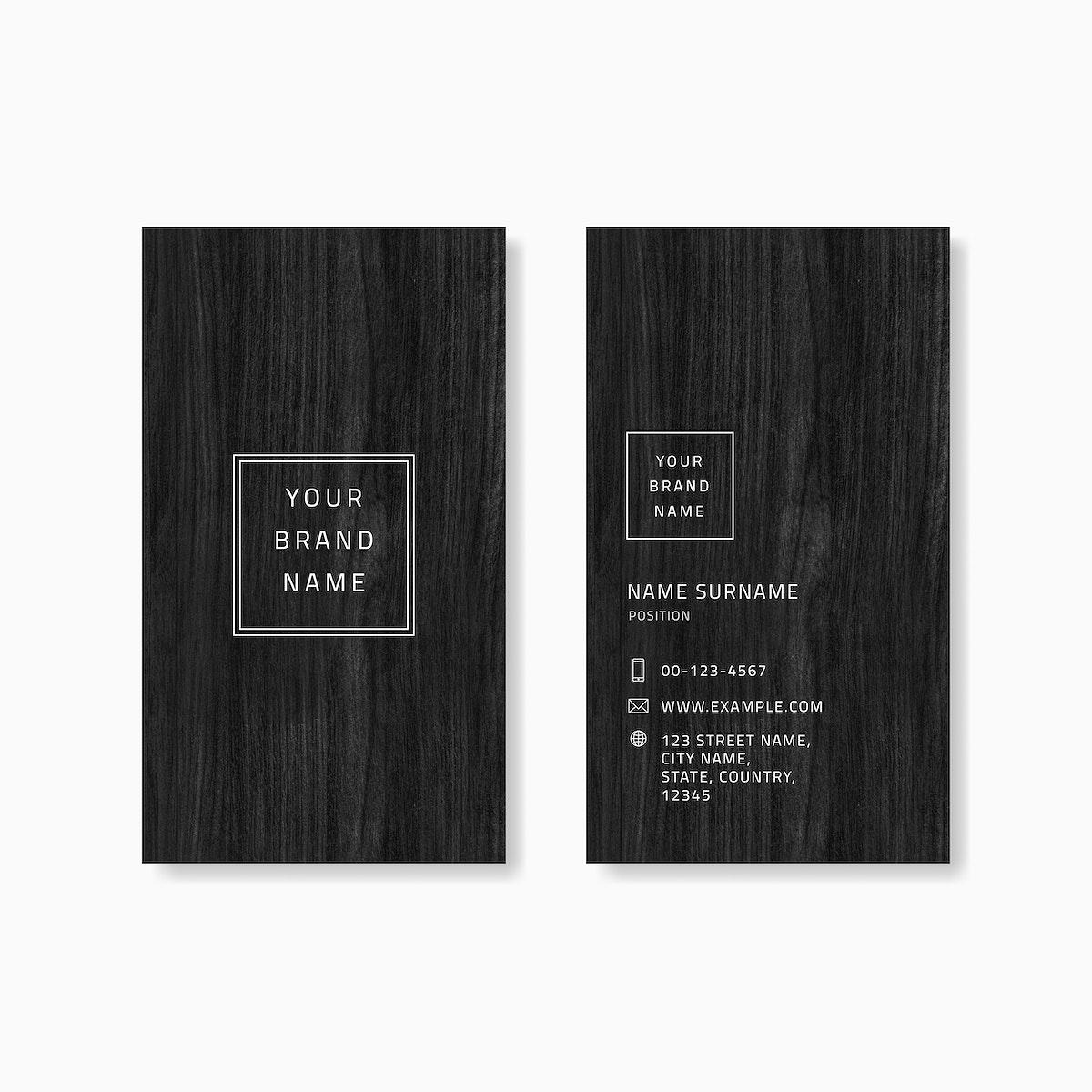 Black wooden business card vector