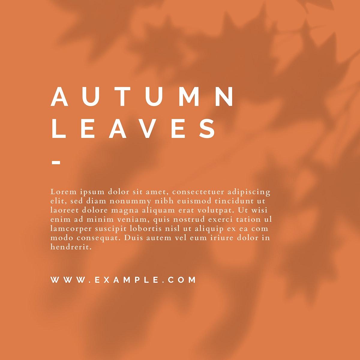 Autumn color tone social media blog template vector